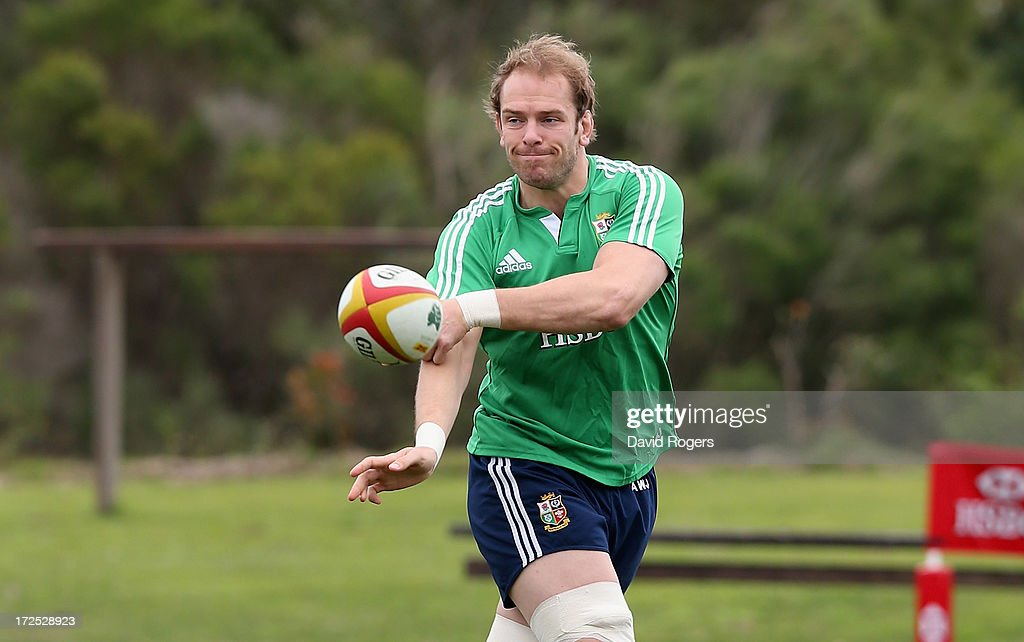 Alun Wyn Jones, who will captain the Lions in the third and final test against the Wallabies, passes the ball during a British & Irish Lions training session held at the Noosa Dolphins Rugby Club on July 3, 2013 in Noosa, Australia.