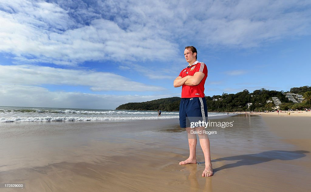 Alun Wyn Jones, who will captain the Lions in the third and final test against the Wallabies, poses on Noosa Beach on July 3, 2013 in Noosa, Australia.