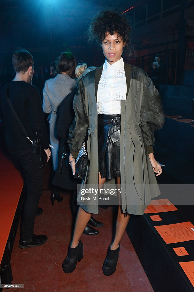 Aluna Francis attends the Hunter Original AW15 catwalk show during London Fashion Week Autumn/Winter 2015/16 on February 23 2015 in London England
