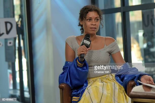 Aluna Francis of AlunaGeorge attends Build series to discuss the singles 'Turn Up The Love' and 'Last Kiss' at Build Studio on July 31 2017 in New...