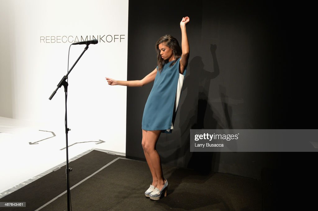 <a gi-track='captionPersonalityLinkClicked' href=/galleries/search?phrase=Aluna+Francis&family=editorial&specificpeople=9571340 ng-click='$event.stopPropagation()'>Aluna Francis</a> of AlunaGeorge performs at the Rebecca Minkoff fashion show during Mercedes-Benz Fashion Week Fall 2014 at The Theatre at Lincoln Center on February 7, 2014 in New York City.