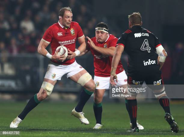 AlunWyn Jones of the Lions charges towards Luke Romano of the Crusaders during the 2017 British Irish Lions tour match between the Crusaders and the...