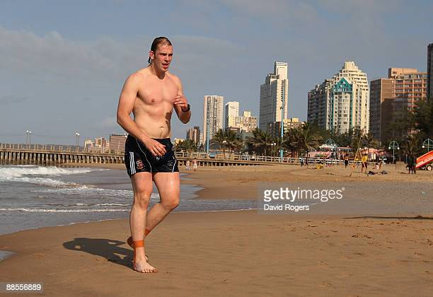AlunWyn Jones who has been selected for the British and Irish Lions team to play South Africa walks out of the Indian Ocean off North Beach on June...