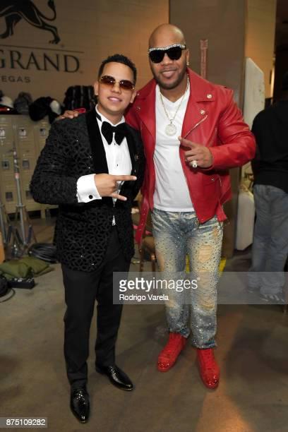 Alvarez and Flo Rida attend The 18th Annual Latin Grammy Awards at MGM Grand Garden Arena on November 16 2017 in Las Vegas Nevada