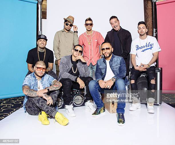 Alvarez Plan B radio DJ Alex Sensation J Balvin Nicky Jam Farruko and Justin Quiles pose for a portraits at the 2015 Billboard Latin Music Conference...