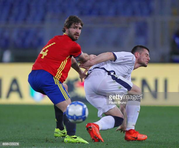 Alvarez Yeray of Spain U21 competes for the ball with Alberto Cerri of Italy U21 during the international friendly match between Italy U21 and Spain...