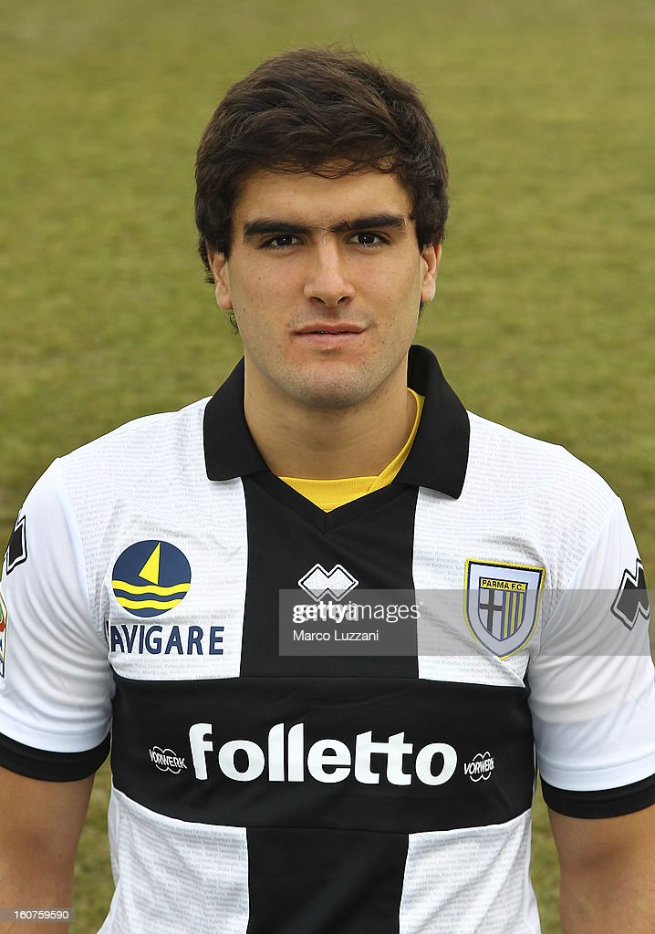 Alvaro Ampuero of Parma FC poses with the club shirt during new signings official portraits at the club's training ground on February 5, 2013 in Collecchio, Italy.
