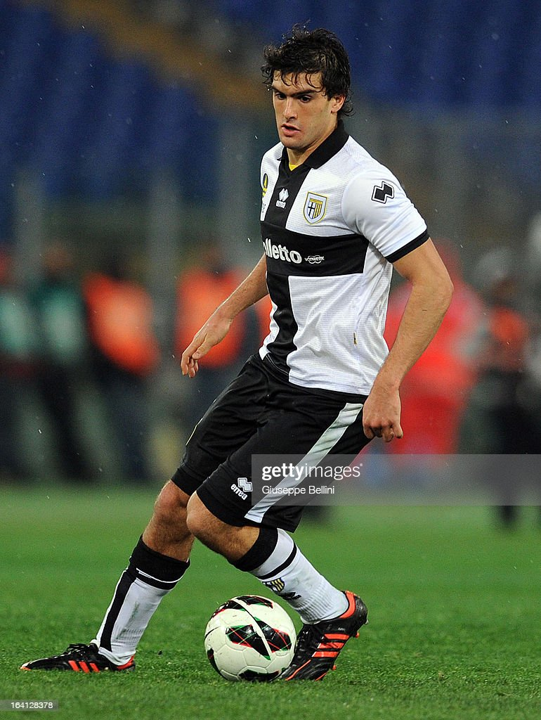 Alvaro Ampuero of Parma in action during the Serie A match between AS Roma and Parma FC at Stadio Olimpico on March 17, 2013 in Rome, Italy.