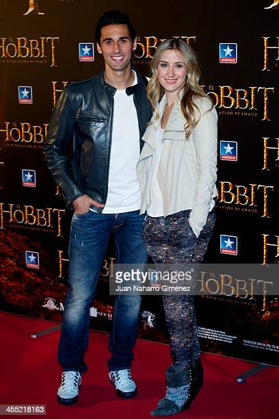 Alvaro Arbeloa and Carlota Ruiz attend the 'The Hobbit The Desolation of Smaug' premiere at the Kinepolis cinema on December 11 2013 in Madrid Spain