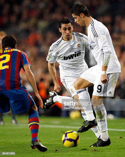 Alvaro Arbeloa and Cristiano Ronaldo of Real Madrid in action during the La Liga match between Barcelona and Real Madrid at Nou Camp on November 29...