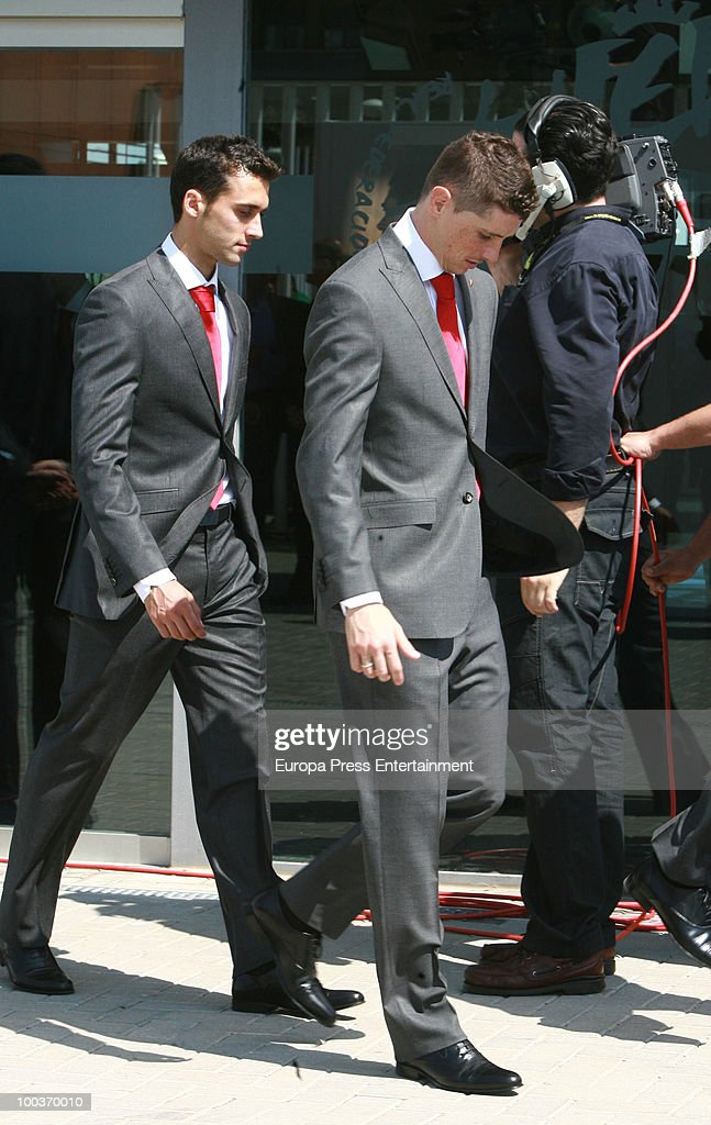 Alvaro Arbeloa and Fernando Torres attend the opening of the Spanish Football Federation Museum on May 24, 2010 in Madrid, Spain.