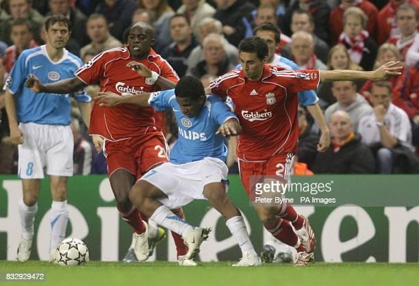 Alvaro Arbeloa Liverpool PSV Eindhoven's Jefferson Farfan holds off Liverpool's Mohamed Sissoko and Alvaro Arbeloa