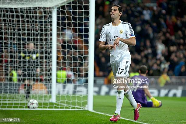 Alvaro Arbeloa of Real Madrid CF celebrates scoring their second goal during the UEFA Champions League group B match between Real Madrid CF and...