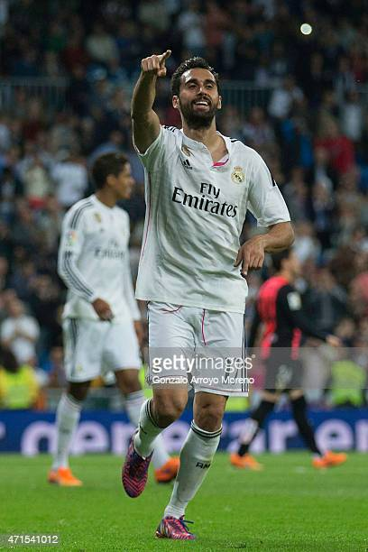 Alvaro Arbeloa of Real Madrid CF celebrates scoring their third goal during the La Liga match between Real Madrid CF and UD Almeria at Estadio...