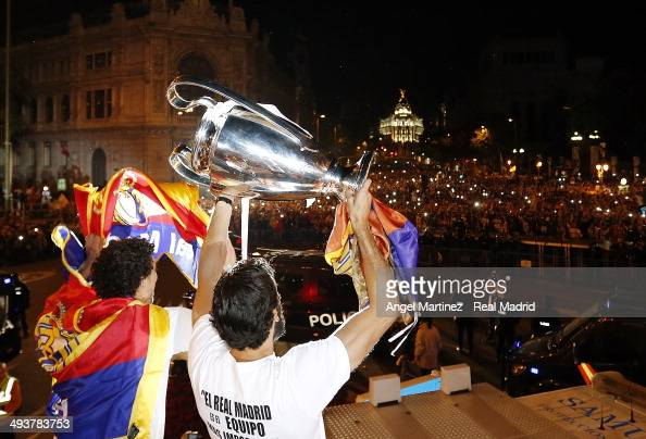 Alvaro Arbeloa of Real Madrid CF holds the UEFA Champions League cup celebrating their victory on the UEFA Champions League Final match against Club...