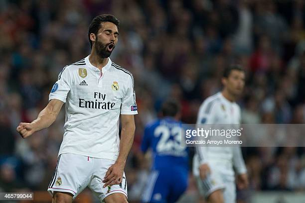 Alvaro Arbeloa of Real Madrid CF reacts as he fail to score during the UEFA Champions League round of 16 second leg match between Real Madrid CF and...