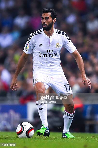 Alvaro Arbeloa of Real Madrid CF runs with the ball during the Copa Del Rey Round of 32 first leg match at Power8 Stadium on October 29 2014 in...
