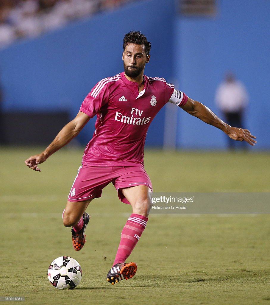 Alvaro Arbeloa of Real Madrid in actions during the pre-season between Real Madrid and Roma at Guinness International Champions Cup 2014 game at Cotton Bowl on July 29, 2014 in Dallas, Texas.