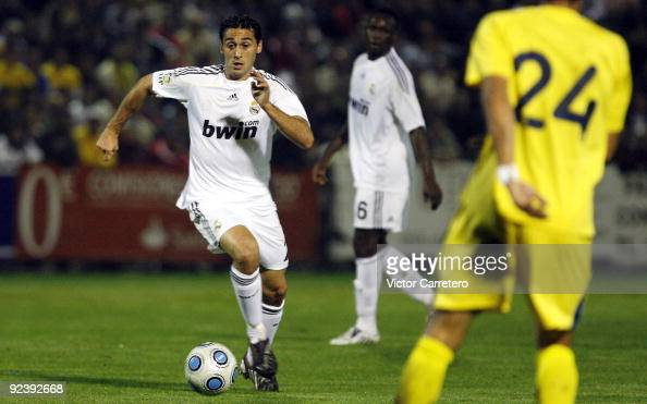 Alvaro Arbeloa of Real Madrid runs with the ball during the Copa del Rey match between AD Alcorcon and Real Madrid at Municipal de Santo Domingo on...