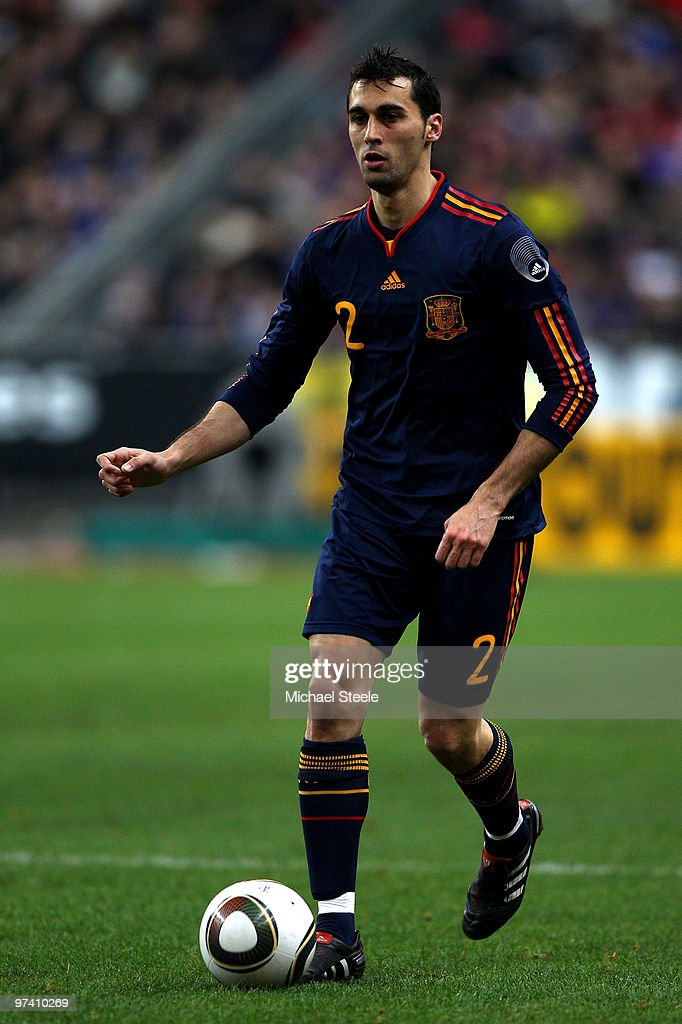 <a gi-track='captionPersonalityLinkClicked' href=/galleries/search?phrase=Alvaro+Arbeloa&family=editorial&specificpeople=3941965 ng-click='$event.stopPropagation()'>Alvaro Arbeloa</a> of Spain during the France v Spain International Friendly match at the Stade de France on March 3, 2010 in Paris, France.