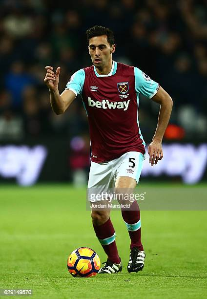 Alvaro Arbeloa of West Ham in action during the Premier League match between West Ham United and Arsenal at London Stadium on December 3 2016 in...