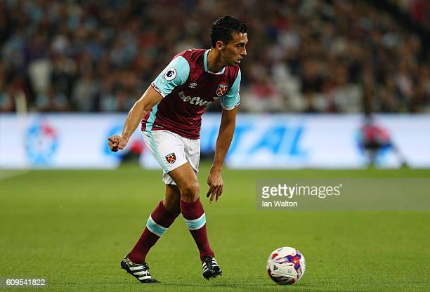 Alvaro Arbeloa of West Ham United in action during the EFL Cup Third Round match between West Ham United and Accrington Stanley at the London Stadium...