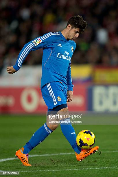 Alvaro B Morata of Real Madrid CF scores their fifth goal during the La Liga match between UD Almeria and Real Madrid CF at Estadio de Los Juegos...