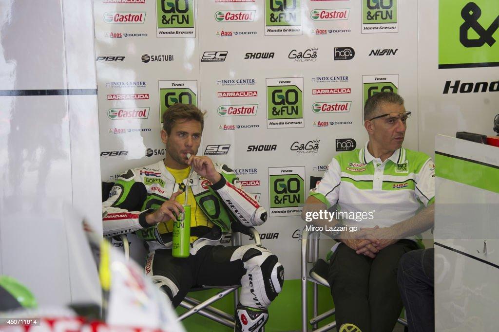 Alvaro Bautista of Spain and Go&Fun Honda Gresini drinks in box during the MotoGp Tests In Montmelo at Circuit de Catalunya on June 16, 2014 in Montmelo, Spain.