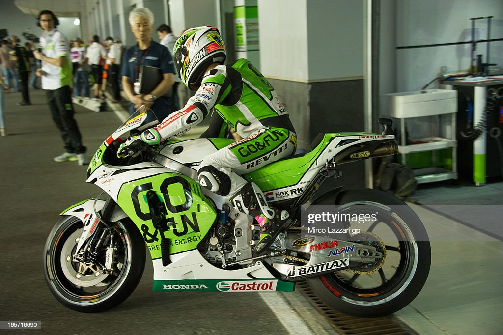 <a gi-track='captionPersonalityLinkClicked' href=/galleries/search?phrase=Alvaro+Bautista&family=editorial&specificpeople=559936 ng-click='$event.stopPropagation()'>Alvaro Bautista</a> of Spain and Go&Fun Honda Gresini starts from box during the MotoGp of Qatar - Free Practice at Losail Circuit on April 5, 2013 in Doha, Qatar.