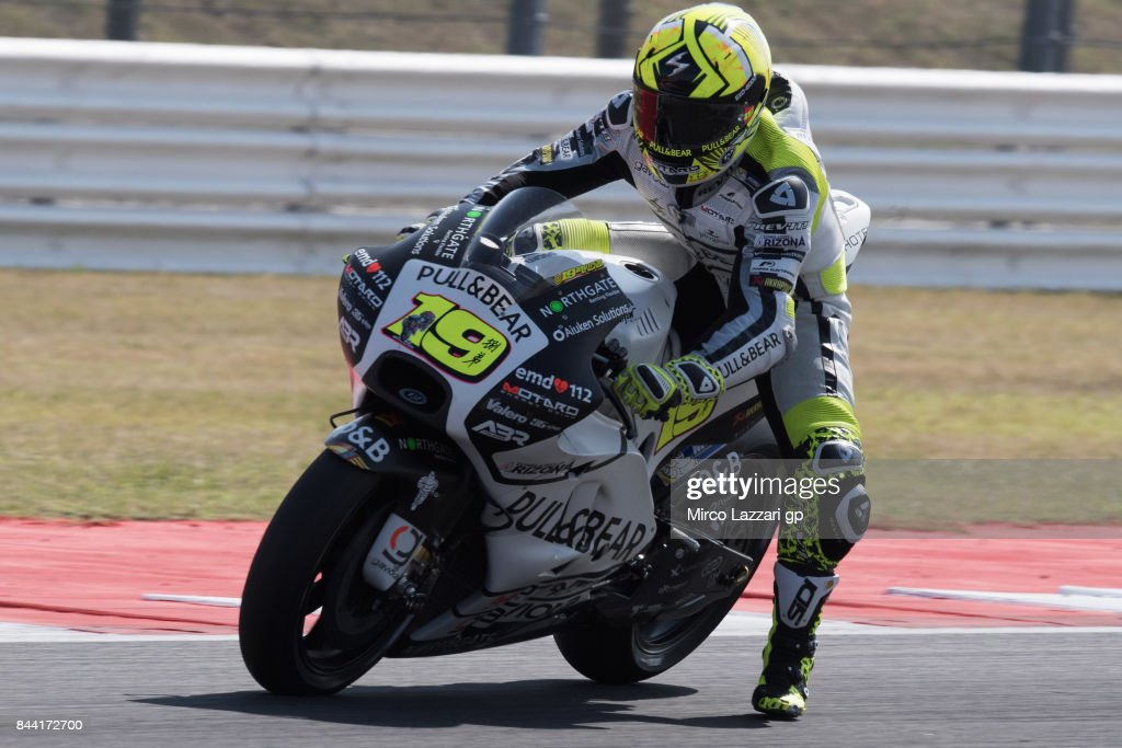 Alvaro Bautista of Spain and Pull&Bear Aspar Team heads down a straight during the MotoGP of San Marino - Free Practice at Misano World Circuit on September 8, 2017 in Misano Adriatico, Italy.