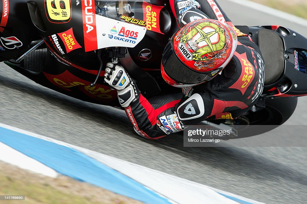 <a gi-track='captionPersonalityLinkClicked' href=/galleries/search?phrase=Alvaro+Bautista&family=editorial&specificpeople=559936 ng-click='$event.stopPropagation()'>Alvaro Bautista</a> of Spain and San Carlo Honda rounds the bend during the first day of testing of MotoGP Tests In Jerez at Circuito de Jerez on March 23, 2012 in Jerez de la Frontera, Spain.