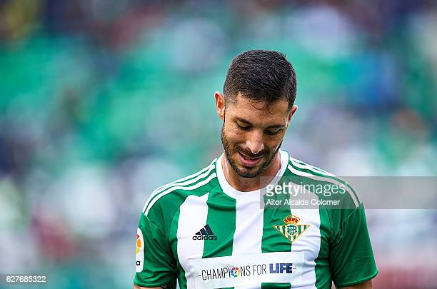 Alvaro Cejudo of Real Betis Balompie reacts during La Liga match between Real Betis Balompie an RC Celta de Vigo at Benito Villamarin Stadium on...