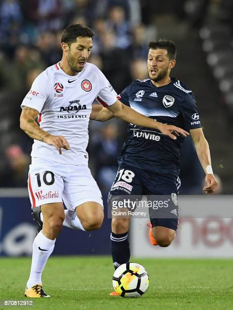 Alvaro Cejudo of the Wanderers and Matias Sanchez of the Victory compete for the ball during the round five ALeague match between the Melbourne...