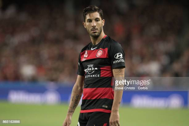 Alvaro Cejudo of the Wanderers looks at the referee during the round three ALeague match between Sydney FC and Western Sydney Wanderers at Allianz...