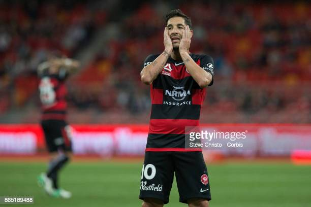 Alvaro Cejudo of the Wanderers misses a sowing opportunity during the round one ALeague match between the Western Sydney Wanderers and the Perth...