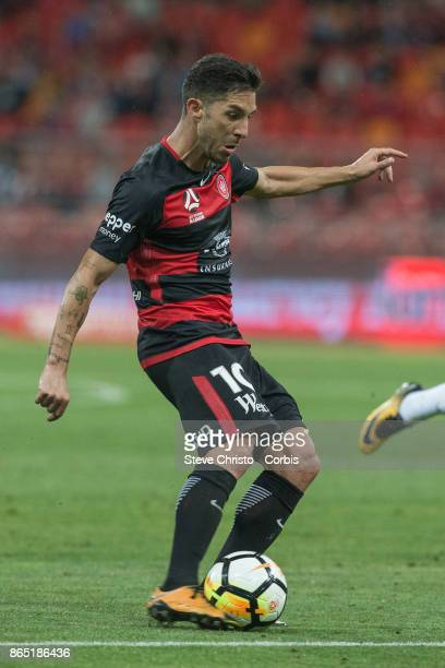 Alvaro Cejudo of the Wanderers takes a shot a goal during the round one ALeague match between the Western Sydney Wanderers and the Perth Glory at...