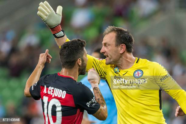 Alvaro Cejudo of the Western Sydney Wanderers and Eugene Galekovic of Melbourne City argue during Round 6 of the Hyundai ALeague Series between...