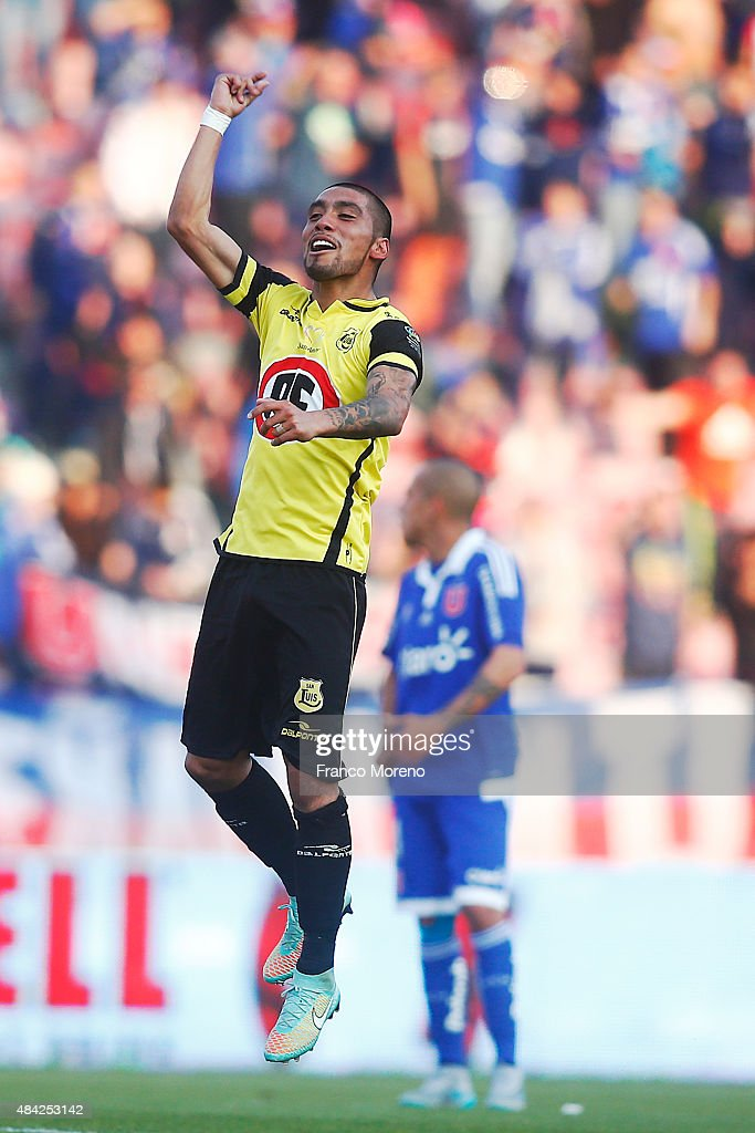 Alvaro Cesped of San Luis celebrates the first goal of his team during a match between U de Chile and San Luis as a part of third round of Torneo...