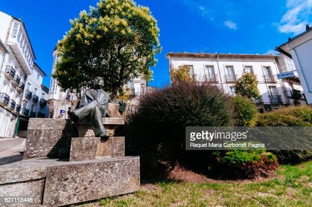 MONDOñEDO LUGO GALICIA SPAIN Alvaro Cunqueiro sculpture in Cathedral square