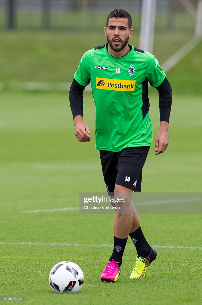 Alvaro Dominguez Soto of Borussia Moenchengladbach controls the ball during a training session at Borussia-Park on June 29, 2016 in Moenchengladbach, Germany.