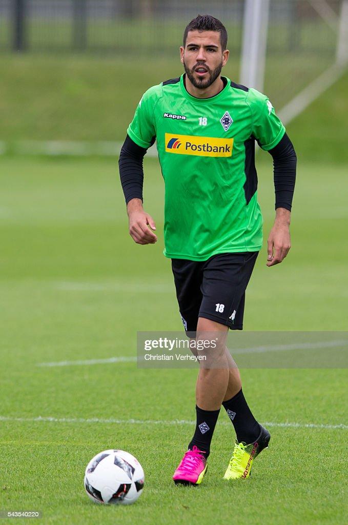Alvaro Dominguez Soto of Borussia Moenchengladbach controls the ball during a training session at Borussia-Park on June 29, 2016 in Moenchengladbach, Germany.