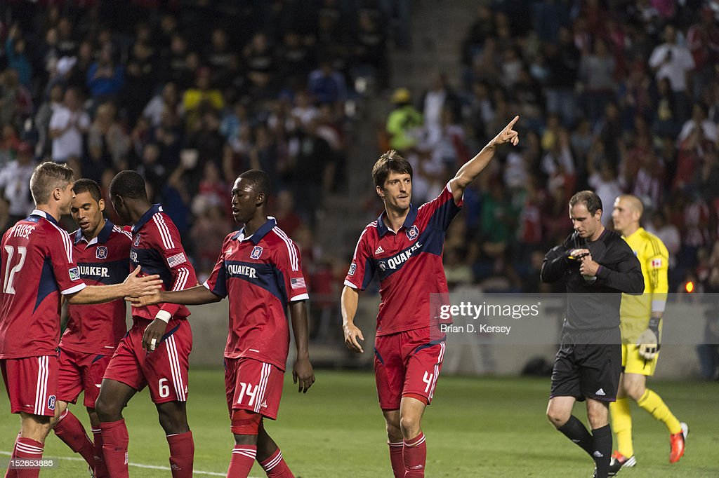 Alvaro Fernandez #4 of Chicago Fire celebrates his goal against the Montreal Impact at Toyota Park on September 15, 2012 in Bridgeview, Illinois. The Fire defeated the Impact 3-1.