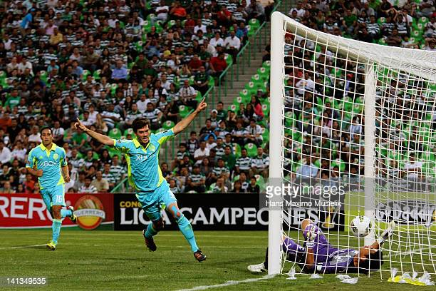 Alvaro Fernandez of the Seattle Sounders celebrates a goal during a match against the Santos Laguna as part of the CONCACAF Champions League at...