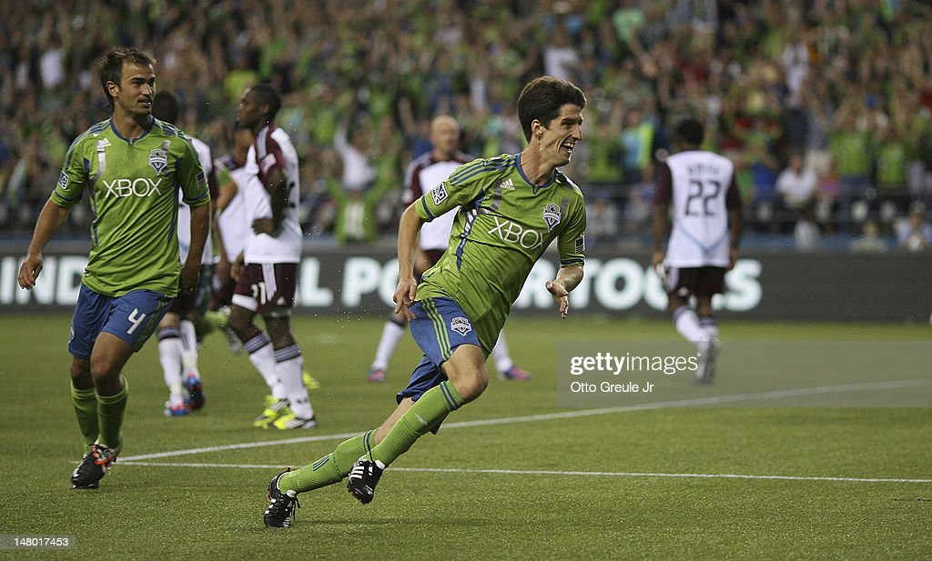 <a gi-track='captionPersonalityLinkClicked' href=/galleries/search?phrase=Alvaro+Fernandez&family=editorial&specificpeople=2946918 ng-click='$event.stopPropagation()'>Alvaro Fernandez</a> #15 of the Seattle Sounders celebrates after scoring a goal against the Colorado Rapids at CenturyLink Field on July 7, 2012 in Seattle, Washington.