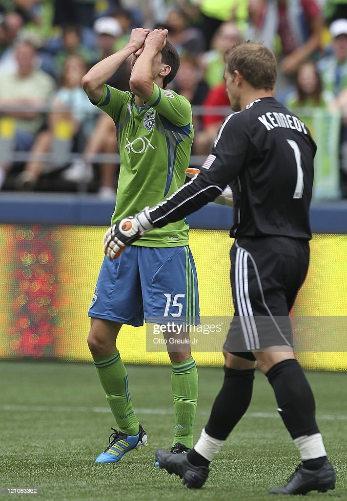 <a gi-track='captionPersonalityLinkClicked' href=/galleries/search?phrase=Alvaro+Fernandez&family=editorial&specificpeople=2946918 ng-click='$event.stopPropagation()'>Alvaro Fernandez</a> #15 of the Seattle Sounders FC reacts after missing a goal against goalkeeper Dan Kennedy #1 of Chivas USA at CenturyLink Field on August 13, 2011 in Seattle, Washington.