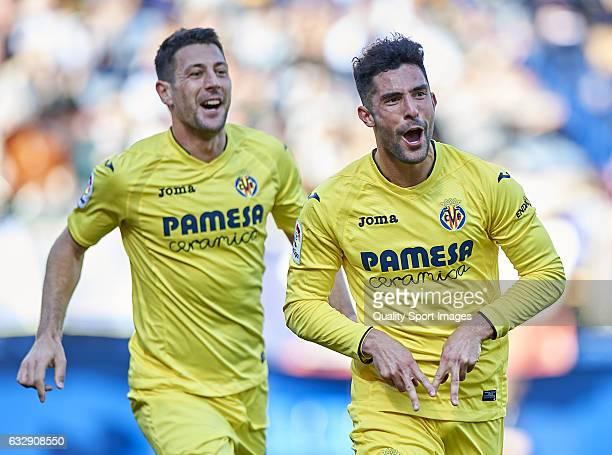 Alvaro Gonzalez and Daniele Bonera of Villarreal celebrates after scoring the second goal during the La Liga match between Villarreal CF and Granada...