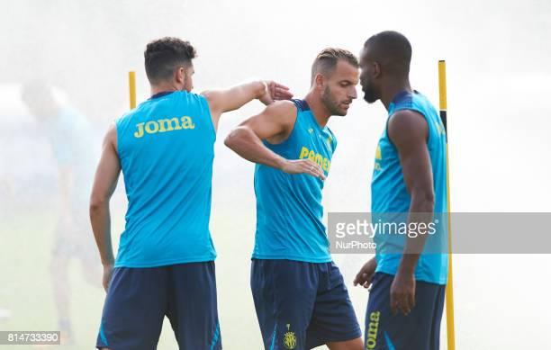 Alvaro Gonzalez and Roberto Soldado during the first week of Villarreal CF training session at Ciudad Deportiva of Miralcamp July 14 in Vilareal Spain