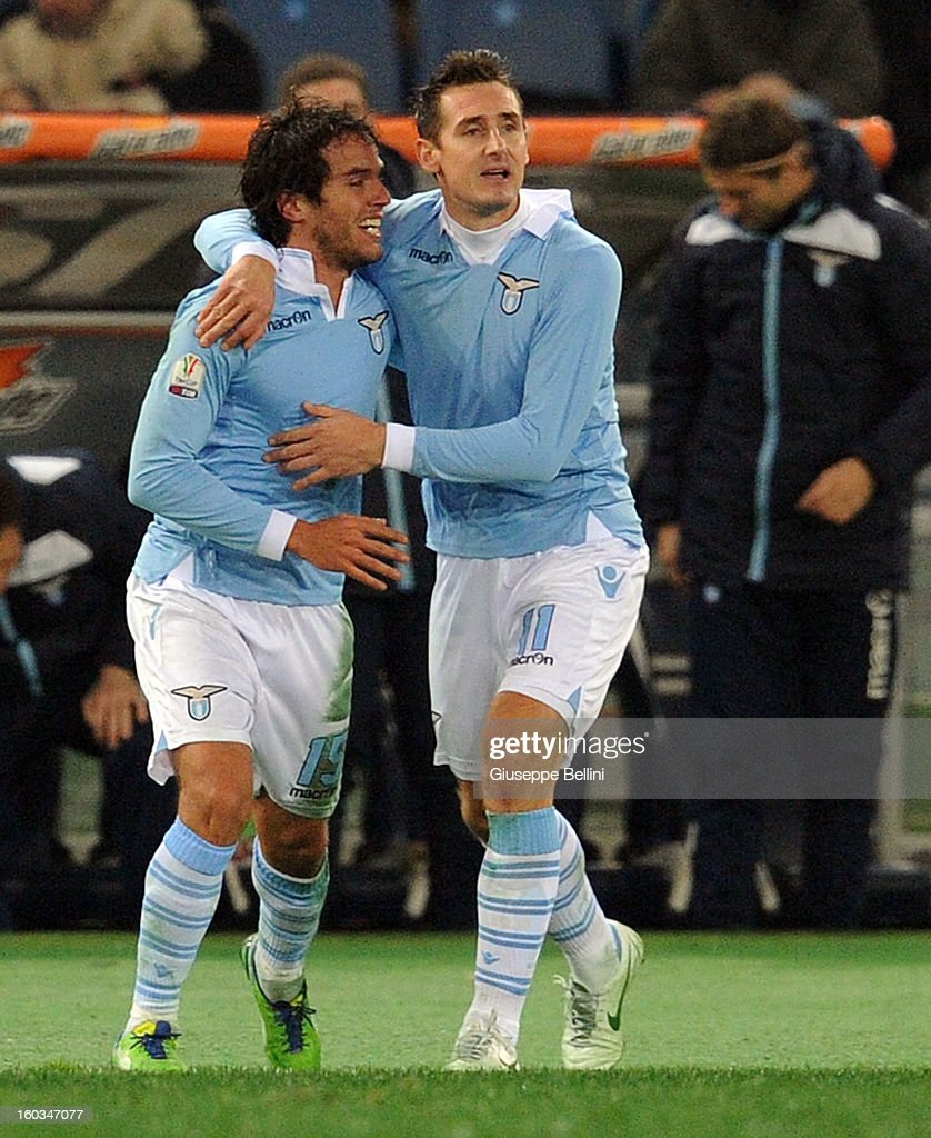<a gi-track='captionPersonalityLinkClicked' href=/galleries/search?phrase=Alvaro+Gonzalez+-+Soccer+Player&family=editorial&specificpeople=2261829 ng-click='$event.stopPropagation()'>Alvaro Gonzalez</a> of Lazio celebrates after scoring the opening goal during the TIM cup match between S.S. Lazio and Juventus FC at Stadio Olimpico on January 29, 2013 in Rome, Italy.