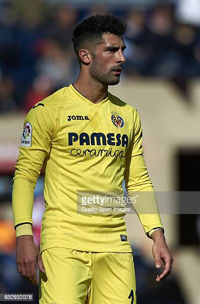 Alvaro Gonzalez of Villarreal looks on during the La Liga match between Villarreal CF and Granada CF at Estadio de la Ceramica on January 28 2017 in...