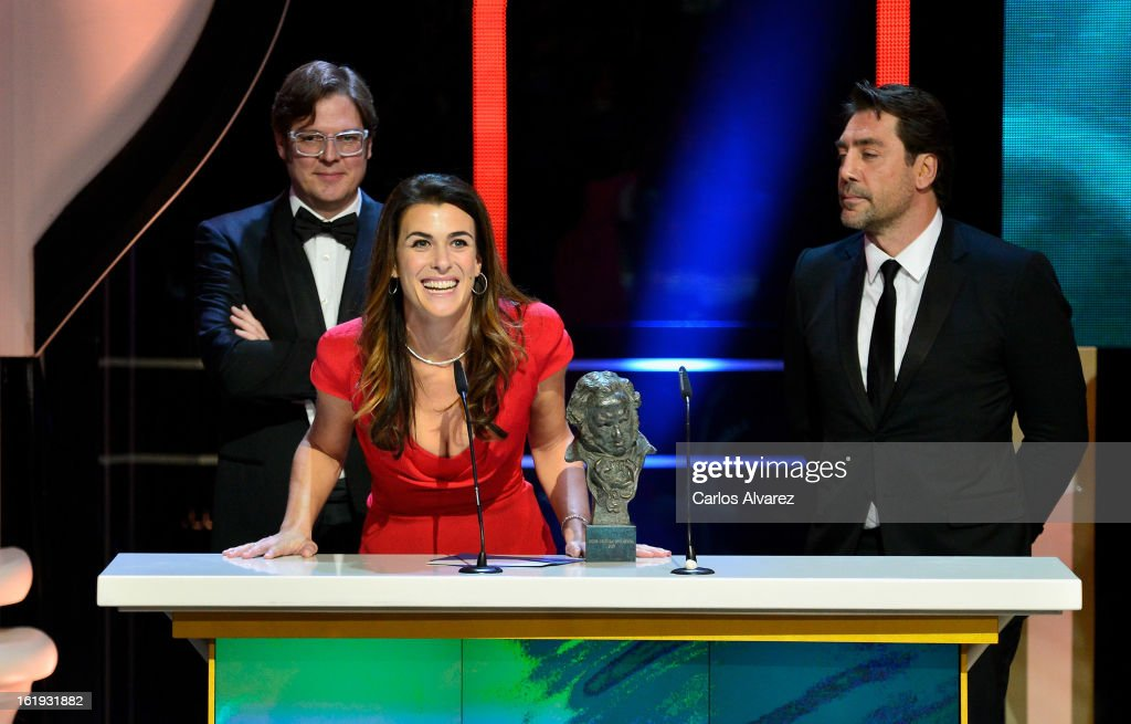 Alvaro Longoria, Lilly Hartley and <a gi-track='captionPersonalityLinkClicked' href=/galleries/search?phrase=Javier+Bardem&family=editorial&specificpeople=209334 ng-click='$event.stopPropagation()'>Javier Bardem</a> attend the Goya Cinema Awards 2013 ceremony at Centro de Congresos Principe Felipe on February 17, 2013 in Madrid, Spain.